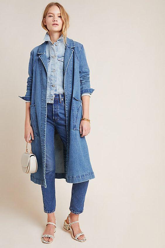 comment porter la veste en jean longue total look denim 2